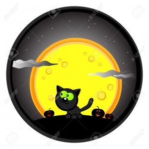 0000000000000000000000000000000000000000000000000000000000000000000000000000000010849004-Cute-Halloween-dessin-Chat-noir-dans-le-ciel-de-nuit-et-la-lune-Cartoon--Banque-d'images
